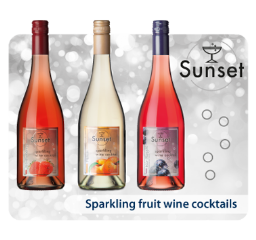 Sunset, sparkling fruit wine cocktail